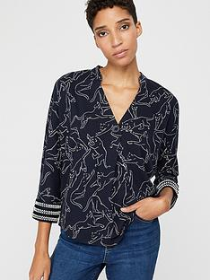 monsoon-reema-tiger-print-three-quarter-sleeve-top-navy