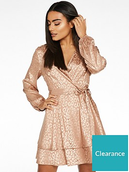 quiz-satin-jacquard-skater-dress-rose-gold