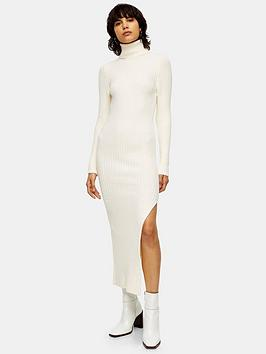 topshop-roll-neck-knitted-dress-ivory