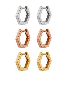 accessorize-z-3x-mixed-plate-hexagon-huggie-hoops-metallic