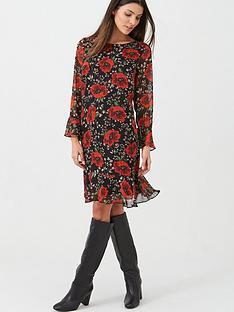 wallis-lurex-poppy-flute-sleeve-dress-black