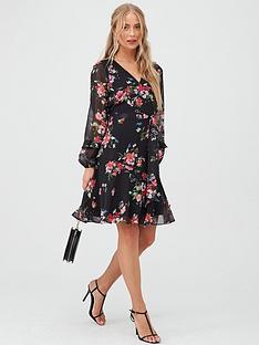 wallis-floral-ruffle-sleeve-fit-amp-flare-dress-black