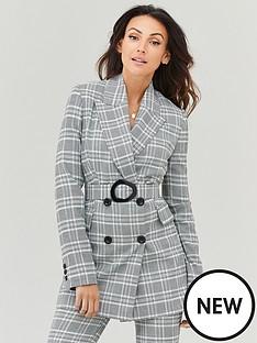michelle-keegan-check-longline-belted-blazer