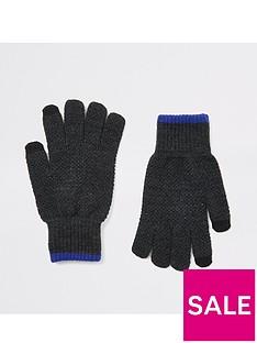 river-island-grey-knit-gloves