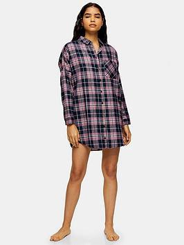 topshop-topshop-check-pyjama-shirt-navy