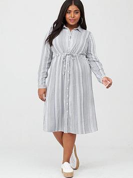 junarose-adya-long-sleeve-midi-dress-blackwhite