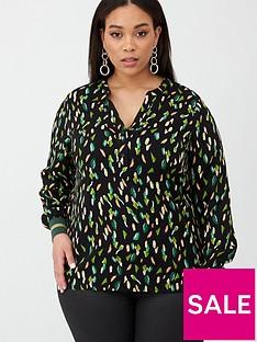 junarose-dita-printed-blouse-black