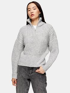 topshop-half-zip-jumper-grey