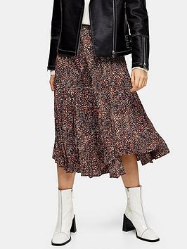 topshop-petite-textured-animal-pleat-midi-skirt-brown