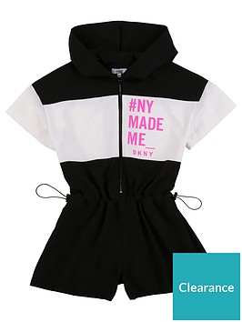 dkny-girls-slogan-hooded-playsuit-black