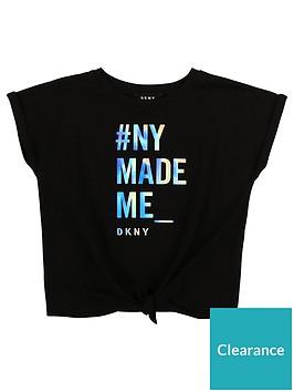 dkny-girls-tie-front-slogan-short-sleeve-t-shirt-black