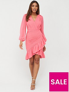 v-by-very-ruched-mini-dress-pink