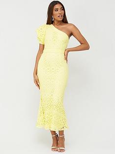 v-by-very-one-shoulder-fluted-hem-lace-dress-lemon