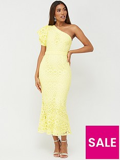 v-by-very-one-shoulder-fluted-hem-lace-dress-lemon