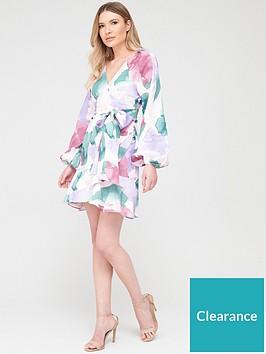 v-by-very-blouson-sleeve-belted-skater-dress