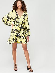 v-by-very-blouson-sleeve-belted-skater-dress-yellow-floral