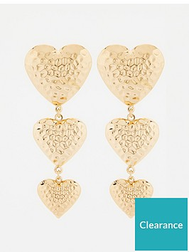 v-by-very-puff-heart-triple-drop-earrings-gold
