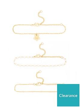 v-by-very-3-pack-flower-charm-bracelet-gold