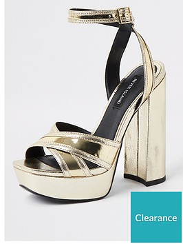river-island-river-island-metallic-platform-sandals-gold