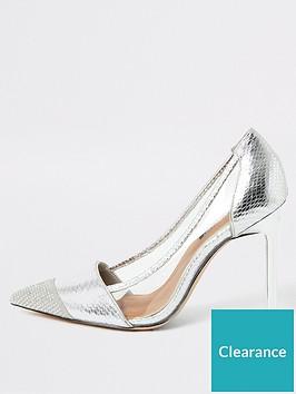 river-island-river-island-perspex-side-metallic-court-shoe-silver