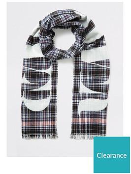 river-island-check-slogan-scarf-black