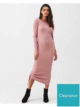 river-island-river-island-ribbed-ruched-side-midi-dress-light-pink