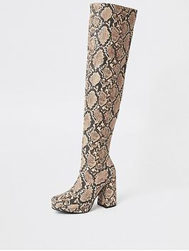 river-island-river-island-platform-printed-over-the-knee-boots-beige