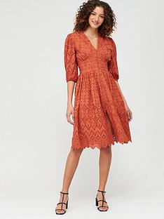 v-by-very-broderie-button-through-midi-dress-rust
