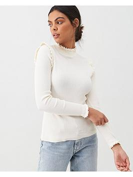 river-island-river-island-ribbed-frill-neck-jumper-cream
