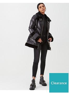 river-island-river-island-belted-padded-longline-aviator-jacket-black