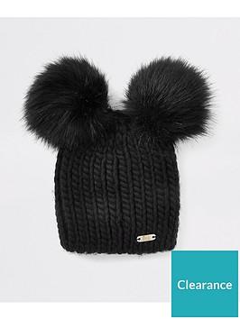 river-island-river-island-faux-fur-double-pom-beanie-hat-black