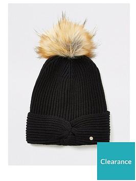 river-island-river-island-twist-front-faux-fur-beanie-hat-black