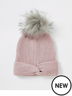 river-island-river-island-twist-front-beanie-hat-pink