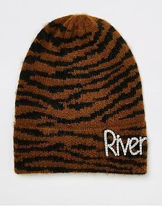 river-island-river-island-animal-print-slogan-beanie-hat--brown