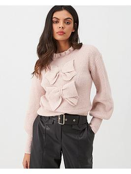 river-island-river-island-bow-front-jumper-light-pink