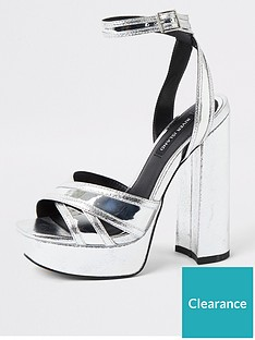 river-island-river-island-metallic-platform-sandals-silver