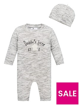 v-by-very-unisex-baby-2-piece-daddys-little-star-romper-suit-and-hat-set-grey
