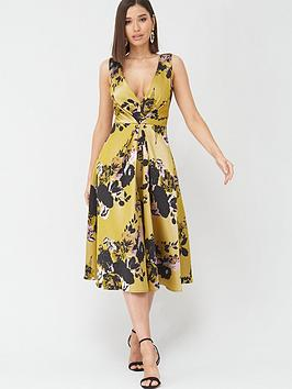 little-mistress-floral-midi-jacquard-dress-multi
