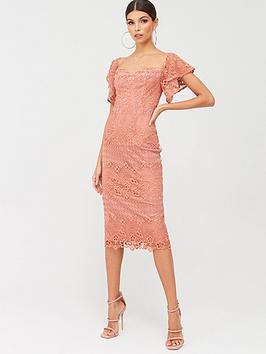 little-mistress-bardot-crochet-midi-dress-peach