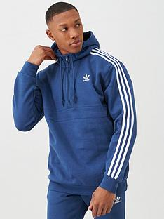 adidas-originals-3-stripe-half-zip-hoodie-blue