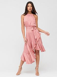 u-collection-forever-unique-ruffle-halterneck-dress-pink