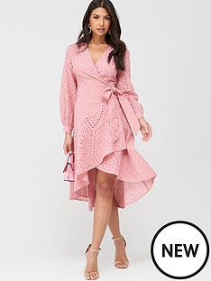 u-collection-forever-unique-long-sleeve-wrap-broderie-midi-dress-pink