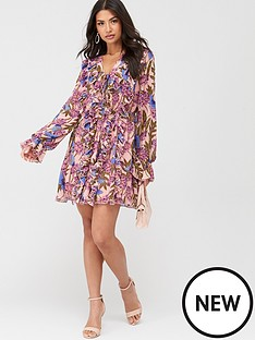 u-collection-forever-unique-long-sleeve-ruffle-mini-dress-nude