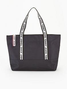 tommy-jeans-logo-tape-nylon-tote-bag-black