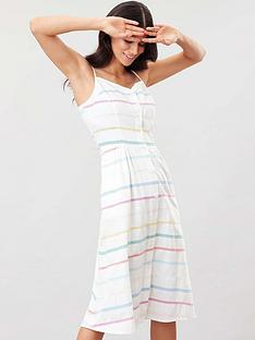 joules-abby-button-through-strappy-dress-whitestripe