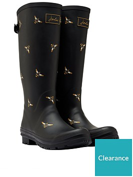 joules-printed-welly-with-adjustable-gusset-black