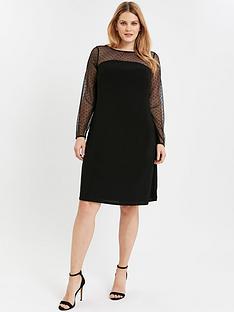 evans-dobby-spot-swing-dress-black