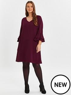 evans-evans-wine-v-neck-frill-sleeve-dress