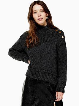 topshop-button-shoulder-detail-knitted-jumper-charcoal