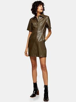 topshop-topshop-pu-shirt-dress-khaki